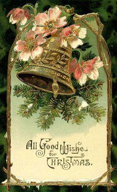 A vintage Christmas postcard - Christmas Cards Vintage Christmas Images, Old Christmas, Old Fashioned Christmas, Antique Christmas, Retro Christmas, Christmas Bells, Vintage Holiday, Christmas Pictures, Crochet Christmas