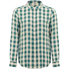 American Vintage Galione Shirt - Cyprus Gingham ($71) ❤ liked on Polyvore featuring tops