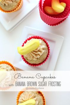 Banana Cupcakes with Banana flavored Brown Sugar Frosting great for the banana lover!