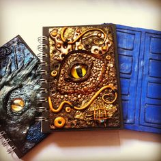 Polymer clay journals, dragons and doctor who #polymerclay