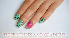 Tiger Stripes and Gradient . Free tutorial with pictures on how to paint a tiger print nail manicure in under 30 minutes by nail painting with nail, sponge, and nail polish. Nail Manicure, My Nails, Nail Polish, Gradient Nails Tutorial, Tiger Stripes, Nail Tutorials, Nail Art, Beauty, Pure Nail Bar