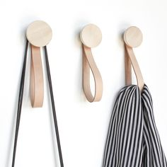 Shop Round Light Beech Wood Coat Wall Hook with Leather Loop Strap from Paper in Wall hooks & knobs, available on Tictail from in Single Hook - Set of 2 - Set of 3 - 5 cm, Single Hook - Set of 2 - Set of 3 - Wooden Wall Hooks, Wooden Walls, Wall Coat Hooks, Diy Wall Hooks, Wall Wood, Home Decor Hooks, Wall Decor, Clothes Hooks, Clothing Racks