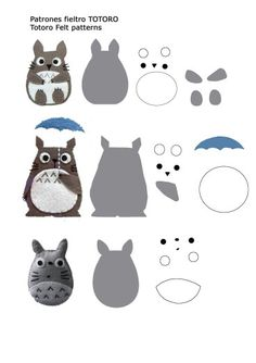 Felt totoro Geek Crafts, Totoro Toy, Miyazaki, Studio Ghibli, Felt Patterns, Stuffed Toys Patterns, Sewing Projects, Sewing Crafts, Dyi Couture