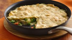 Looking for an easy chicken dinner? Look no further! This chicken pot pie recipe cooks in a single skillet topped with refrigerated pie crust. From Brett Youmans, Bake-Off® Monthly Challenge.