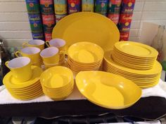 56 pcs svc for 8+ vtg Oneida Deluxe Yellow Melmac Melamine Dinnerware Dishes in Collectibles, Kitchen & Home, Tableware | eBay