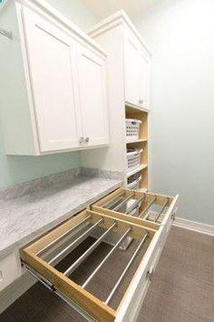 laundry room - drying rack drawers