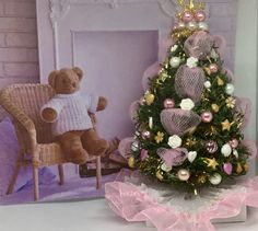 Excited to share the latest addition to my shop: Christmas tree in Pink and lighted for Dollhouse Miniature Christmas Trees, Mini Christmas Tree, Christmas Barbie, Sams, Barbie Furniture, Xmas Ideas, Dollhouses, Etsy Shop, Dolls