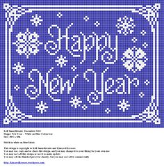 Design: Happy New Year - White on Blue Colourway Size: x Designer: Kell Smurthwaite, Kincavel Krosses Stitch in white on blue fabric Permissions: This design is copyright to Kell Smurthwait. Free Cross Stitch Charts, Cross Stitch Freebies, Free Charts, Diy Embroidery, Cross Stitch Embroidery, Cross Stitch Designs, Cross Stitch Patterns, Christmas Cross, Christmas Ideas
