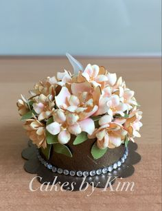 """Rustic Bridal Bouquet"" Tea Light Cake - handmade paper flowers - (made by Kim)"