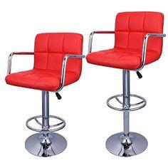 2x Modern Adjustable Swivel Bar Stool PU Leather Hydraulic BarStool w/ Arm Red