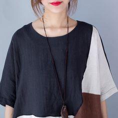 Women summer mixed color loose cotton linen dress