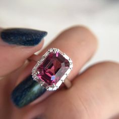 3 Carat Rhodolite Garnet Engagement Ring Baguette Diamond Ring | Etsy Pink Stone Rings, White Gold Rings, Baguette Diamond Rings, Pink Ring, 3 Carat, Colored Diamonds, Jewelry Rings, Jewelry Design, Bling