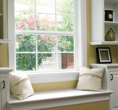 Cozy Window Seat - Encompass by Pella® Single-Hung Windows Pella Windows, Windows And Doors, Custom Windows, Vinyl Windows, Storefront Glass, Single Hung Windows, Glass Store, Window Repair, Wall Installation