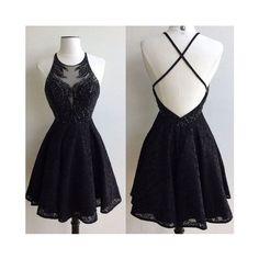 Black round neck lace beaded short prom dress, cute homecoming dress ❤ liked on Polyvore featuring dresses, short lace cocktail dress, short cocktail dresses, prom homecoming dresses, prom dresses and short prom dresses