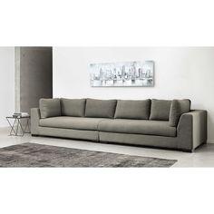 Canapé modulable accoudoir droit en tissu Monet gris clair Terence   Maisons du Monde