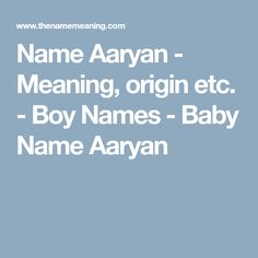 Name Aaryan - Meaning, origin etc. - Boy Names - Baby Name Aaryan