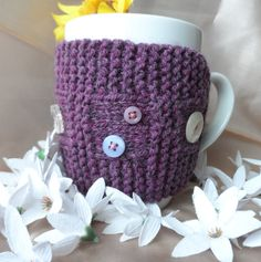 Hand knitted mug hug or cup cosy cozy warmer by RowanKnits on Etsy, £4.00