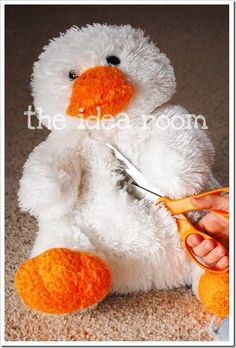 cute easter basket idea.. cut the tummy, hollow it out, make your own basket or just place one small enough to fit inside tummy, sew together and voila... stuffed animal easter basket :)     #repurposing