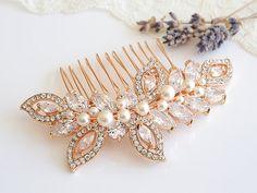 Rose Gold Wedding Hair Comb, Crystal Leaf Wedding Hairpiece, Bridal Hair Comb, Swarovski Pearl Bridal Headpiece, CZ Hair Clip, AUGUSTINA