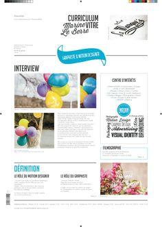 CURRICULUM VITAE JOURNAL by Marine Le Berre, via Behance
