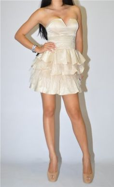 Buy New: $179.00: Single Detail Page Misc: Bebe Feather Dress Size Medium 8 10 Beige Nude Tube Top Bustier Corset Satin