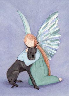Angel and black great dane / Lynch signed folk by watercolorqueen