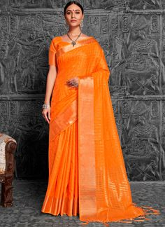 You will be the center of attention in this attire. Add a small burst of colour to the wardrobe with this orange art silk traditional designer saree. The woven work appears chic and fantastic for any . Latest Designer Sarees, Latest Sarees, Indian Bridal Wear, Indian Ethnic Wear, Traditional Sarees, Traditional Outfits, Festival Wear, Festival Fashion, Party Wear Sarees Online