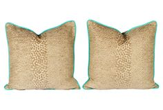 "Animal Print & Turquoise Pillows, Pair, on OKL (1/28/12), 22""sq, cotton velvet, $279"