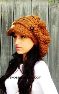 e9f0abd8a37 Slouchy Hat Womens Hat Two Button Band Newsboy Cap Handmade Chunky Hat  Hazelnut or CHOOSE color Best Seller sold by SWAKCouture.