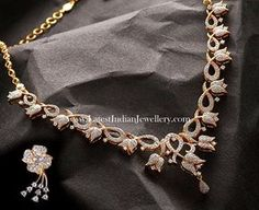 lotus flower design, studded with round brilliant diamonds in this stunning necklace paired with simple and stunning floral diamond studded earring devji Diamond Necklace Set, Diamond Pendant, Diamond Jewelry, Gold Jewelry, Jewelery, Fine Jewelry, Stone Necklace, Crystal Necklace, Antique Jewelry