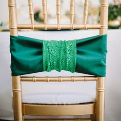 Emerald green wedding chair decor | Jasmine Nicole Photography
