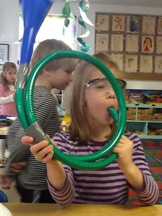 Unintentionally funny: Teaching kids how to make beer bongs? Homemade instruments - horn from a garden hose, and a xylophone made with wood and metal kick plates Preschool Music, Music Activities, Teaching Music, Activities For Kids, Teaching Kids, Projects For Kids, Crafts For Kids, Toddler Crafts, Garden Projects