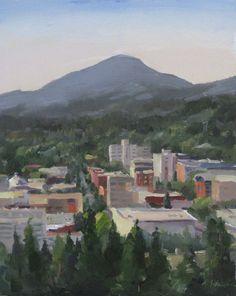 Eugene Oregon cityscape landscape plein air oil by SedwickStudio, $250.00