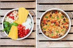 Díky tomu, že se vše vaří společně, těstoviny do sebe krásně natáhnou chuť ostatních ingrediencí; Jakub Jurdič