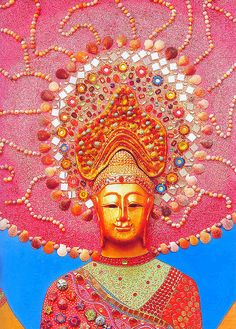 """When one has the feeling of dislike for evil, when one feels tranquil, one finds pleasure in listening to good teachings; when one has these feelings and appreciates them, one is free of fear.""  Buddha (pink buddha mosaic)"