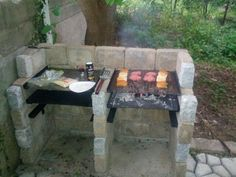 Back Yard Patio - Bbq İdeas Outdoor Oven, Outdoor Fire, Outdoor Cooking, Outdoor Decor, Outdoor Barbeque, Bbq Grill, Grilling, Brick Bbq, Outdoor Kitchen Design