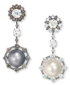 Wallace Chan pearl and diamond earrings