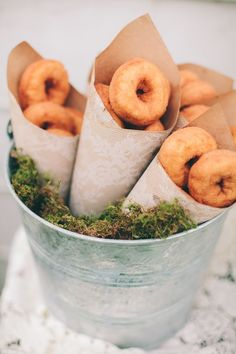 Donuts Wrapped In Cones, set in a Moss bucket for breakfast or Brunch Bar Wedding Donuts, Wedding Desserts, Mini Desserts, Mini Donuts, Wedding Reception Food, Wedding Favors, Party Favors, Cake Party, Brunch Wedding