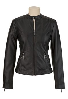 Faux Leather Moto Jacket - maurices.com