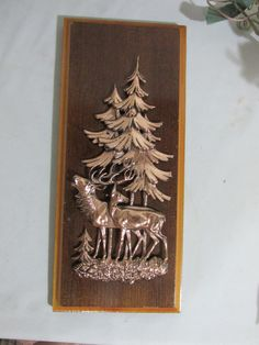 Three Dimensional Copper and Wood Deer Wall Plaque by LuRuUniques on Etsy