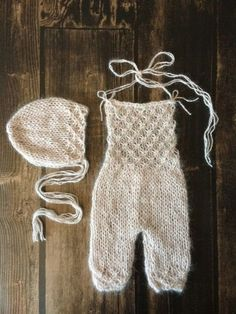 Description:  This is a PDF knitting PATTERN for a super cute newborn angora jumpsuit/overall with a matching bonnet. The jumpsuit is designed