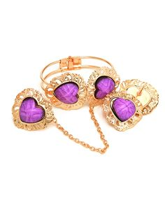 ASSORTED COLORS ADJUSTABLE  RING , EARRINGS & BRACELET COMBO