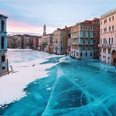 Frozen Grand Canal, Venice Composite shot: the Grand Canal, Venice, photography by Luis Manuel Osorio Fernando, and Lake Bakail, Russia, pho...