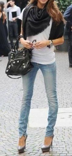 Medium wash skinny jeans.