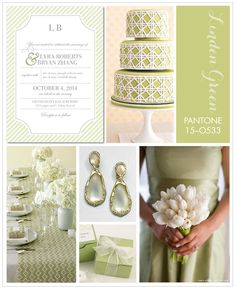 A light and bright yellow-toned green is on our minds: Pantone Linden Green. Pair it with whites and neutrals for a warm weather wedding, or combine it with a deep blue or jewel tone for a fall or winter wedding. Wedding Pins, Our Wedding, Dream Wedding, Wedding Cakes, Wedding Themes, Wedding Colors, Wedding Ideas, Sage Green Wedding, Wedding Paper Divas