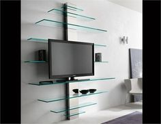 Tv wall unit with floating shelves floating wall unit floating shelf for wall wall units shelf . tv wall unit with floating Tv Stand With Glass Shelves, Wall Mount Tv Stand, Tv Stand Shelves, Glass Wall Shelves, Wall Shelving Units, Floating Glass Shelves, Wall Units, Floating Wall, Shelf Wall
