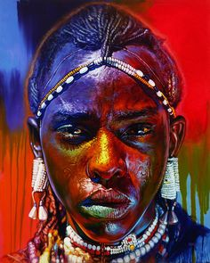 "Break from Dancing (acrylic) by Stephen Bennett. Bennett says, ""I hope my portraits reveal that every person of every race and culture is interconnected, indispensable and radiant with astonishing beauty."""