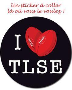 Un sticker pour dire qu'on aime Toulouse, tout simplement ! Autocollant de diamètre 10 cm, à coller partout à ça vous chante : agendas, valises, voitures, cartables...