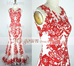 2014 Prom DressStraps Mermaid Lace Beading Red Prom by MyGown, $209.90