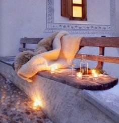 romance, yes please... let's have a simple outdoor picnic together. some wine, candle light and a faux fur blanket, under the stars.